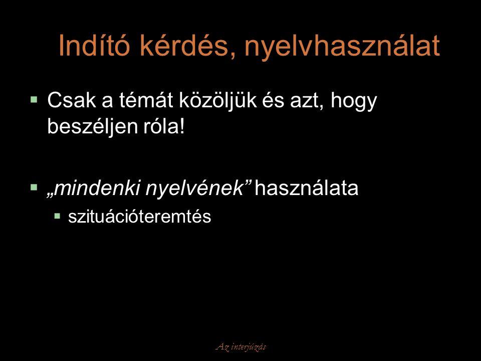 Indító kérdés, nyelvhasználat