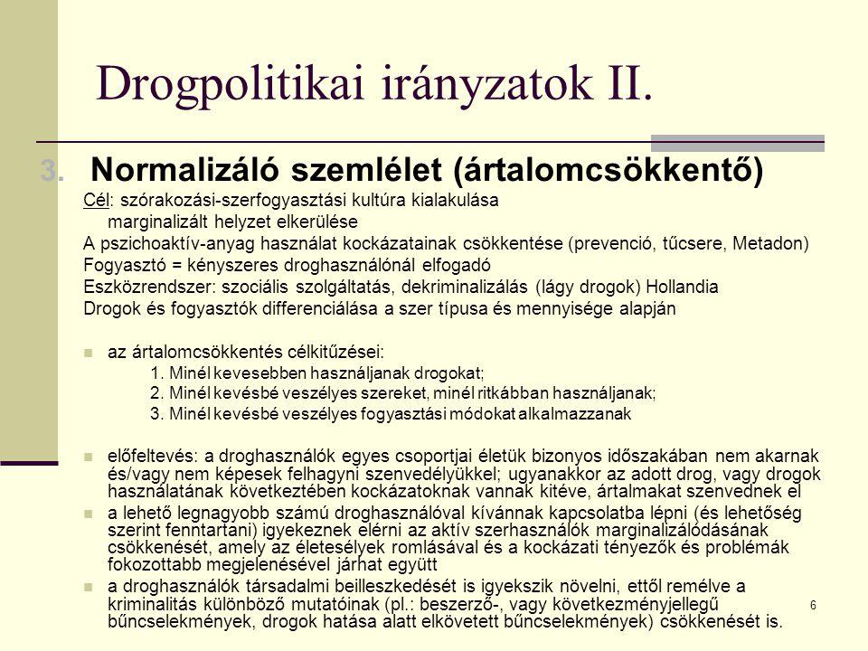 Drogpolitikai irányzatok II.