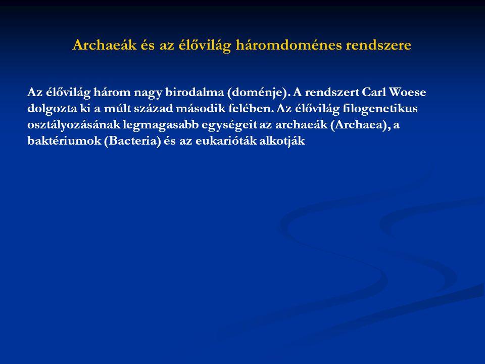 Archaeák és az élővilág háromdoménes rendszere