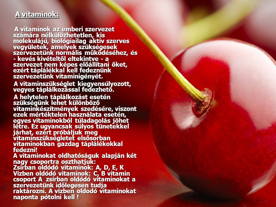 A vitaminok: