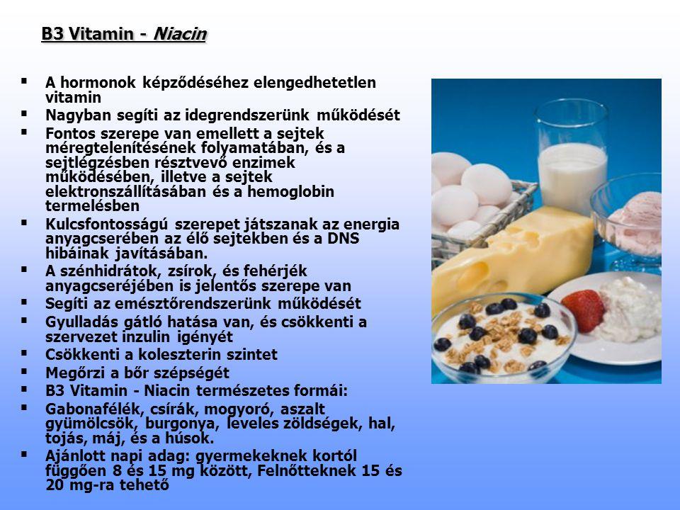 B3 Vitamin - Niacin A hormonok képződéséhez elengedhetetlen vitamin