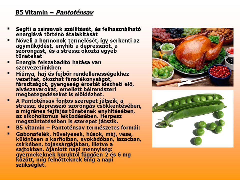B5 Vitamin – Pantoténsav