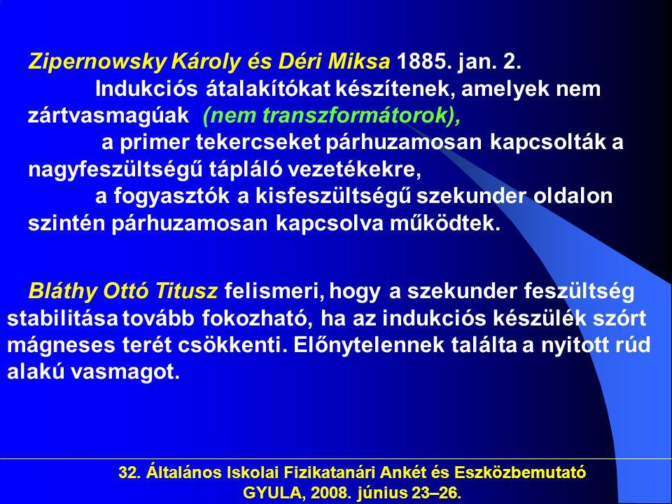 Zipernowsky Károly és Déri Miksa 1885. jan. 2
