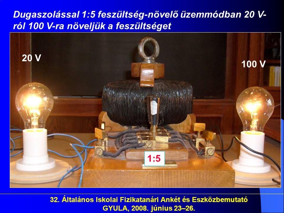 Dugaszolással 1:5 feszültség-növelő üzemmódban 20 V-ról 100 V-ra növeljük a feszültséget
