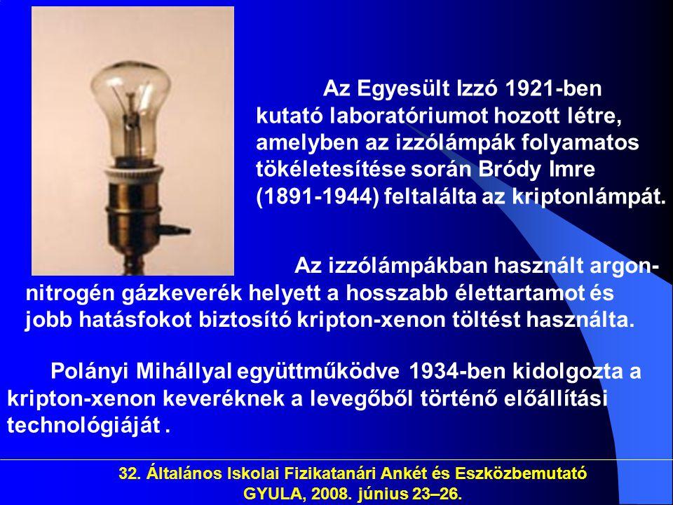 Az Egyesült Izzó 1921-ben kutató laboratóriumot hozott létre, amelyben az izzólámpák folyamatos tökéletesítése során Bródy Imre (1891-1944) feltalálta az kriptonlámpát.
