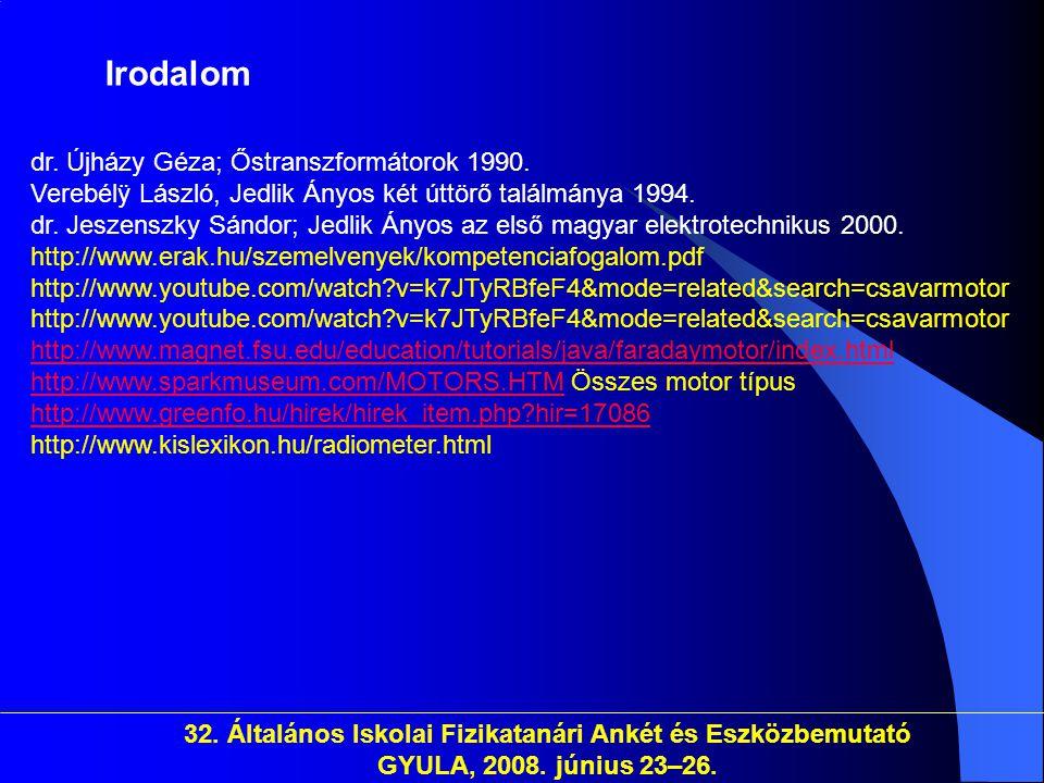 Irodalom dr. Újházy Géza; Őstranszformátorok 1990.