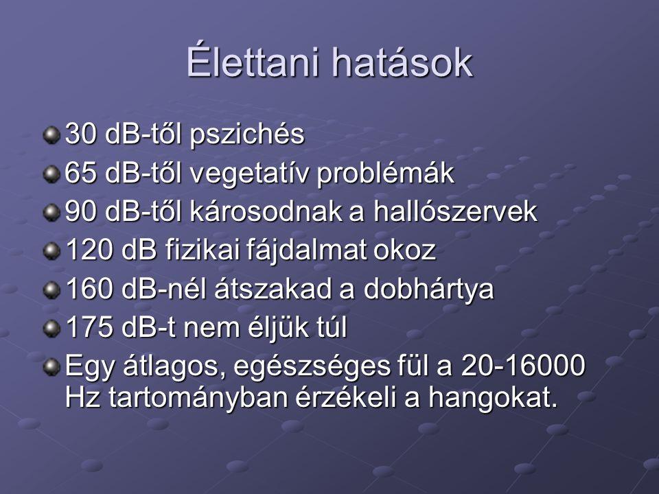 Élettani hatások 30 dB-től pszichés 65 dB-től vegetatív problémák
