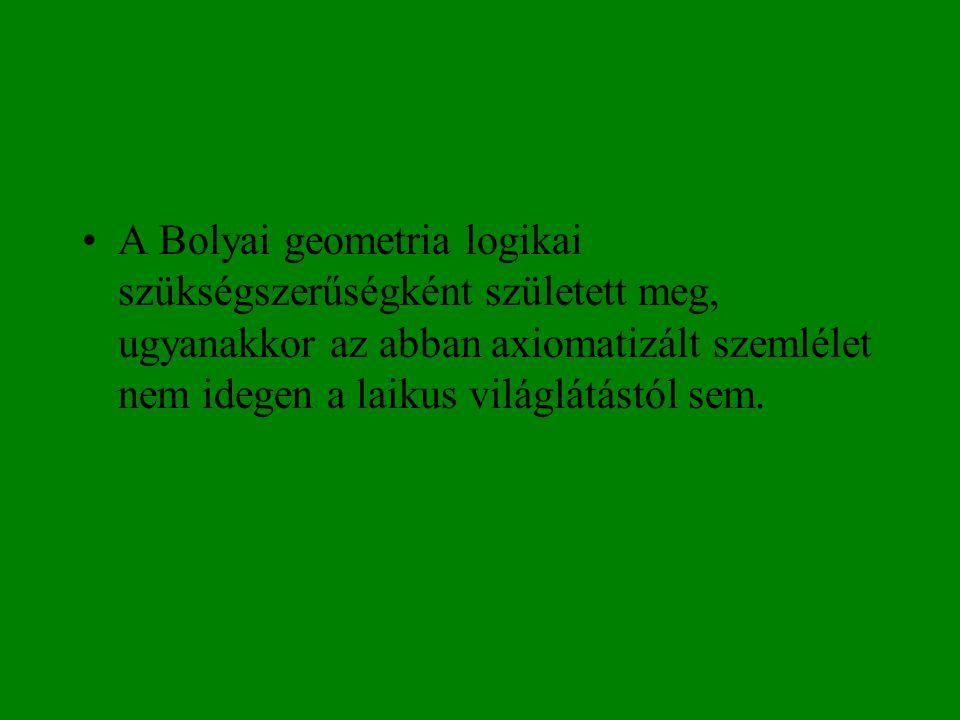 A Bolyai geometria logikai szükségszerűségként született meg, ugyanakkor az abban axiomatizált szemlélet nem idegen a laikus világlátástól sem.