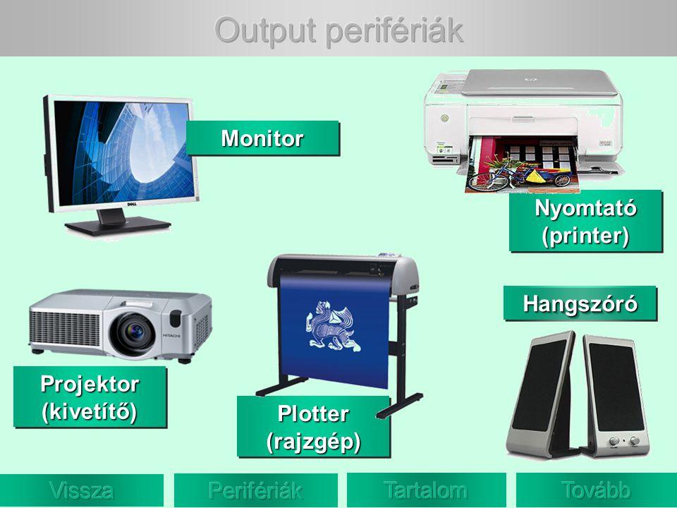 Output perifériák Monitor Nyomtató (printer) Hangszóró