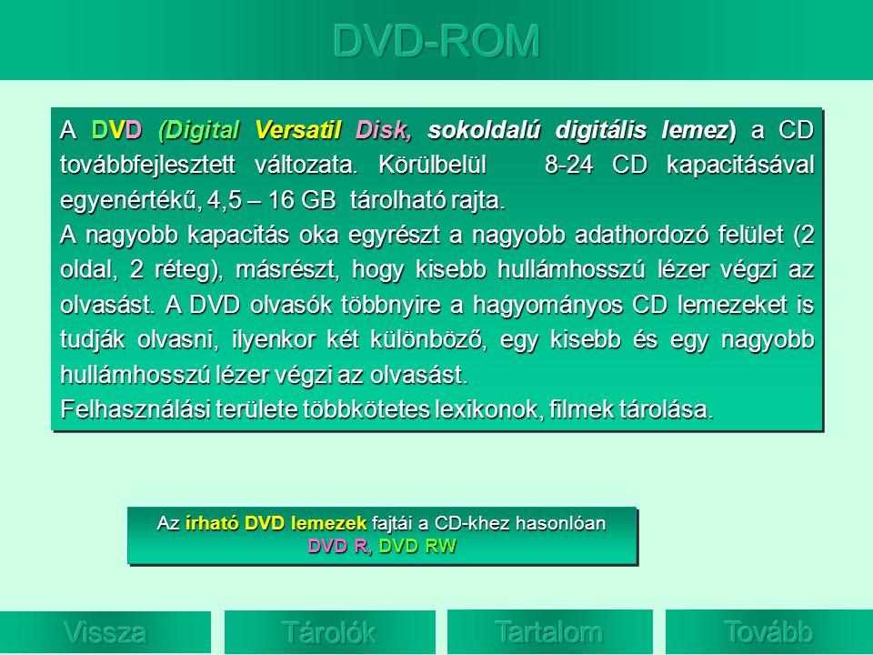 Az írható DVD lemezek fajtái a CD-khez hasonlóan DVD R, DVD RW