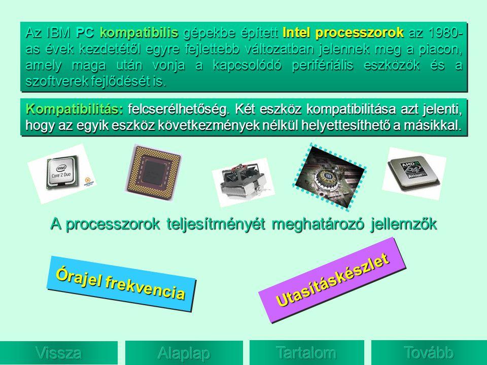 A processzorok teljesítményét meghatározó jellemzők