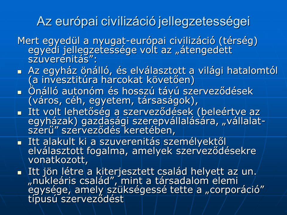 Az európai civilizáció jellegzetességei