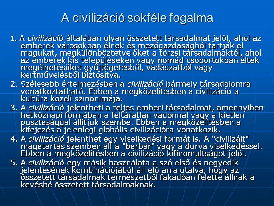 A civilizáció sokféle fogalma