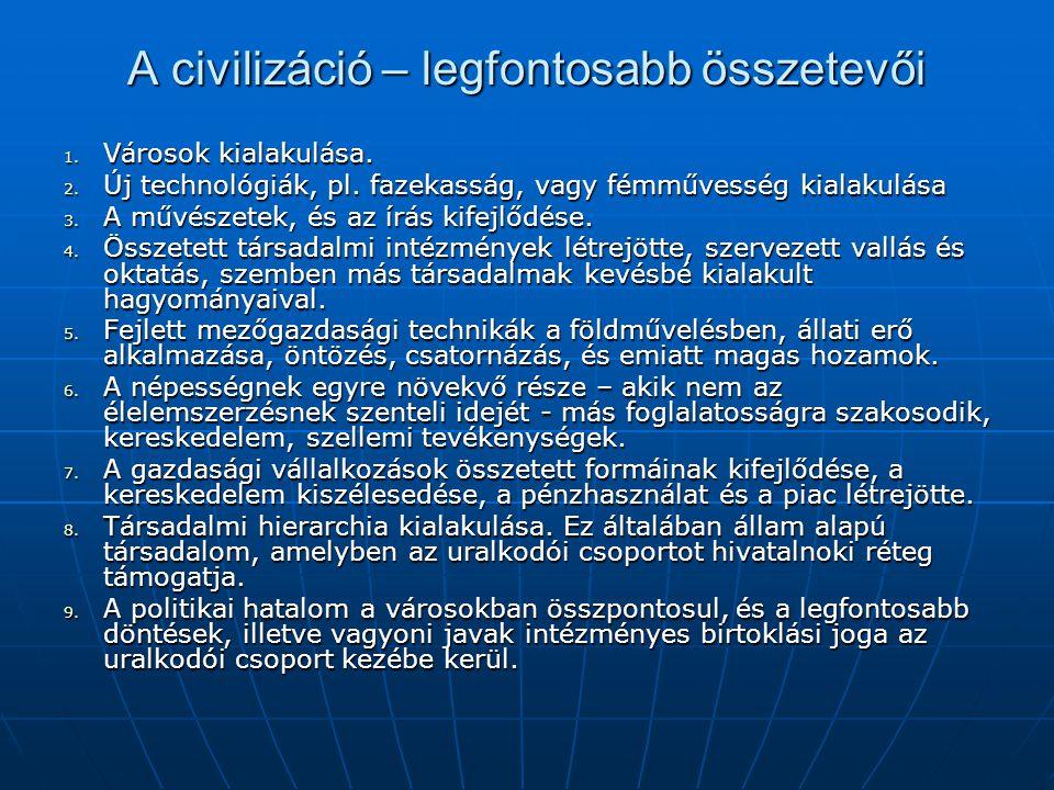 A civilizáció – legfontosabb összetevői