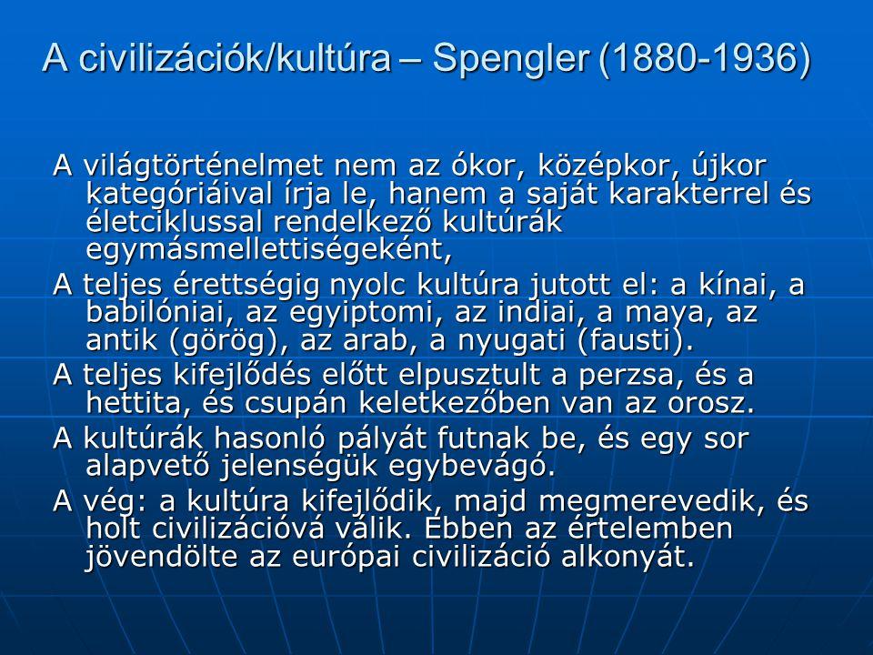 A civilizációk/kultúra – Spengler (1880-1936)