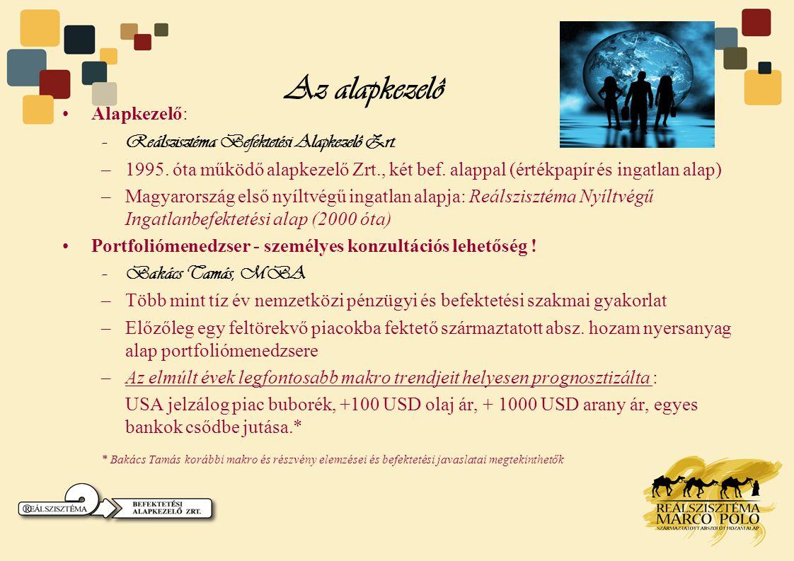 Az alapkezelô Alapkezelő: Reálszisztéma Befektetési Alapkezelô Zrt.