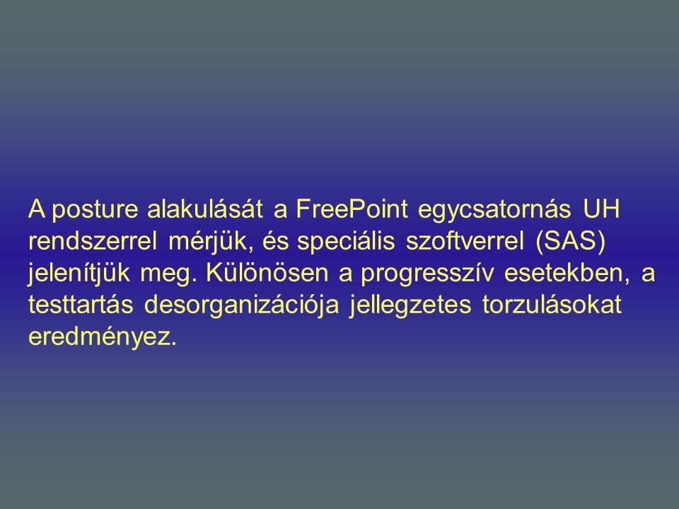 A posture alakulását a FreePoint egycsatornás UH rendszerrel mérjük, és speciális szoftverrel (SAS) jelenítjük meg.