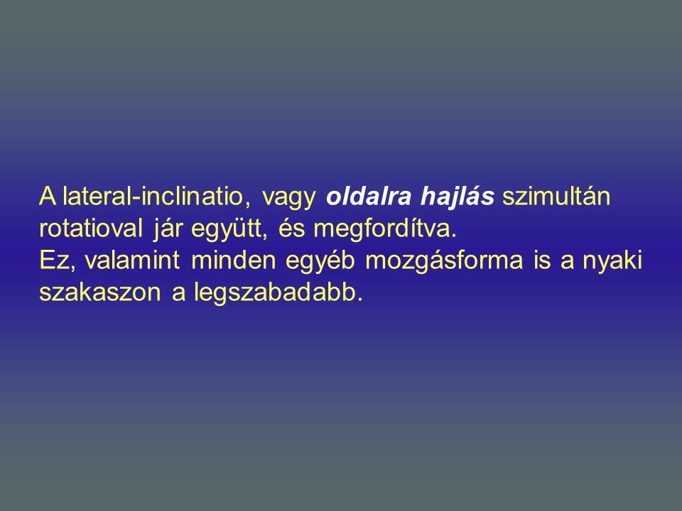 A lateral-inclinatio, vagy oldalra hajlás szimultán rotatioval jár együtt, és megfordítva.
