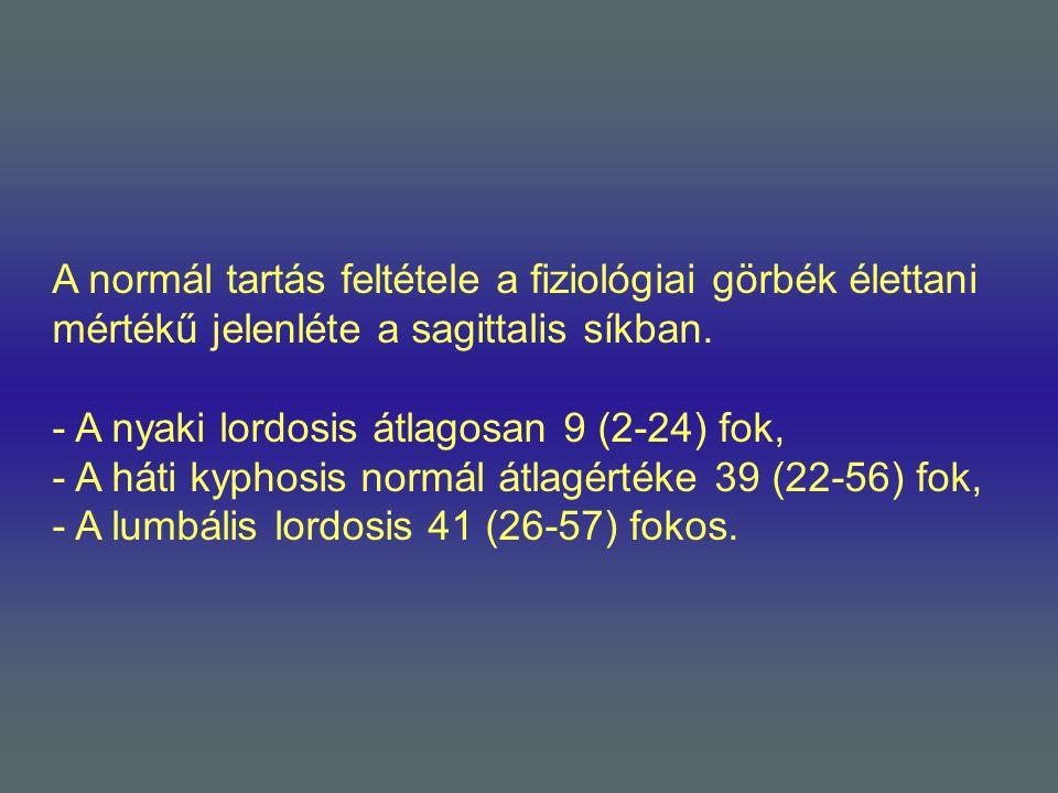 A normál tartás feltétele a fiziológiai görbék élettani mértékű jelenléte a sagittalis síkban.
