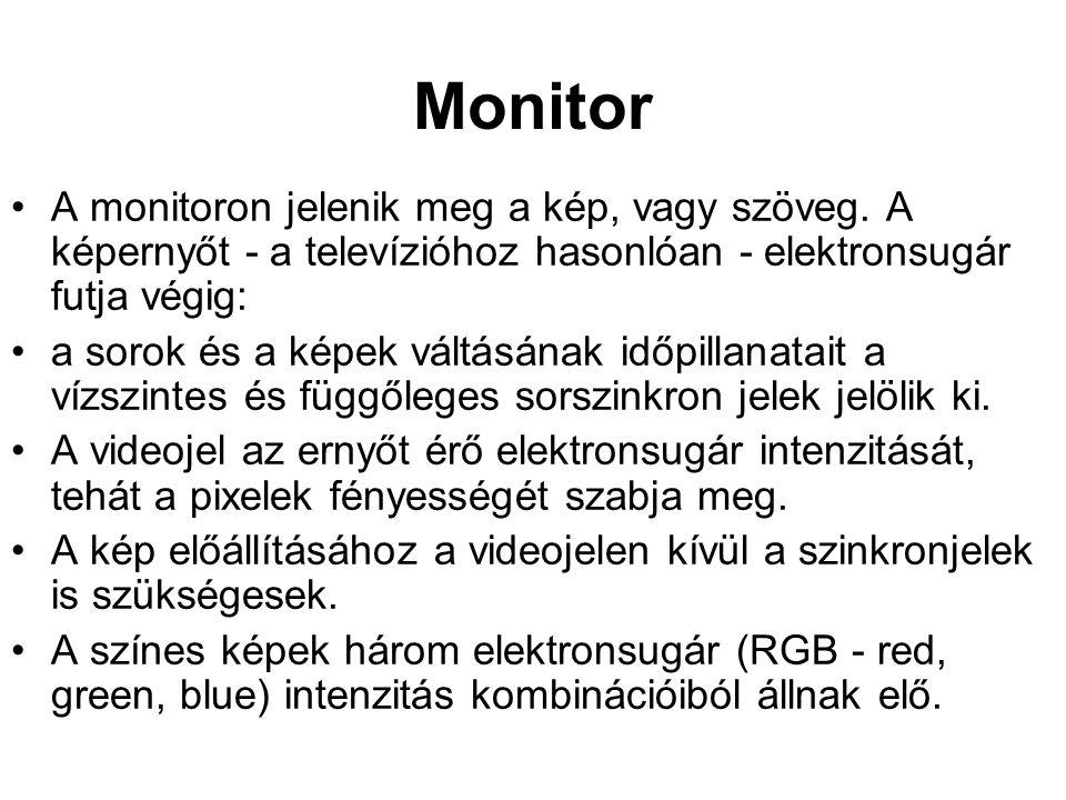 Monitor A monitoron jelenik meg a kép, vagy szöveg. A képernyőt - a televízióhoz hasonlóan - elektronsugár futja végig: