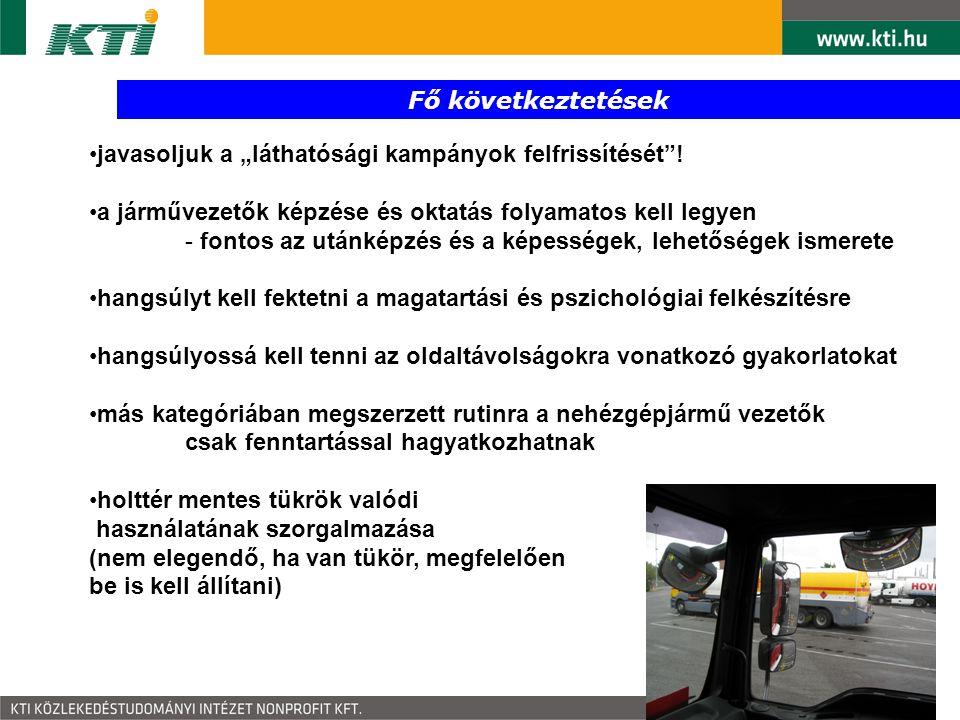"""Fő következtetések javasoljuk a """"láthatósági kampányok felfrissítését ! a járművezetők képzése és oktatás folyamatos kell legyen."""