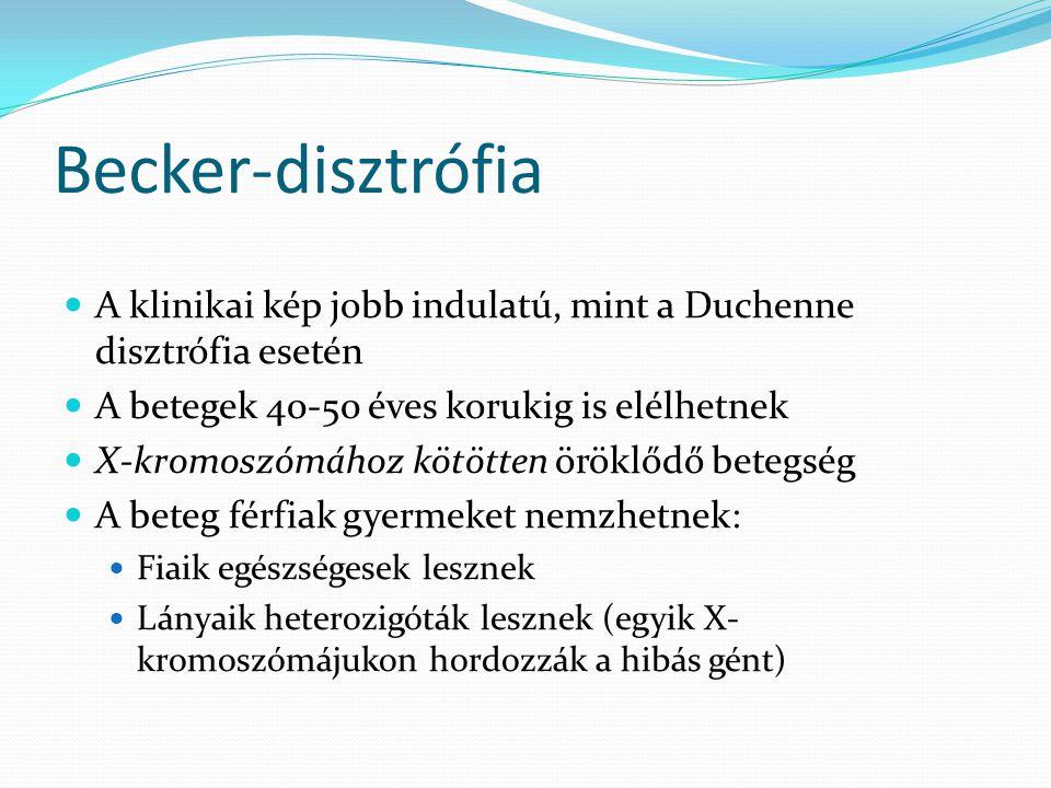 Becker-disztrófia A klinikai kép jobb indulatú, mint a Duchenne disztrófia esetén. A betegek 40-50 éves korukig is elélhetnek.