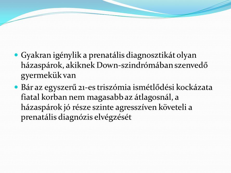 Gyakran igénylik a prenatális diagnosztikát olyan házaspárok, akiknek Down-szindrómában szenvedő gyermekük van