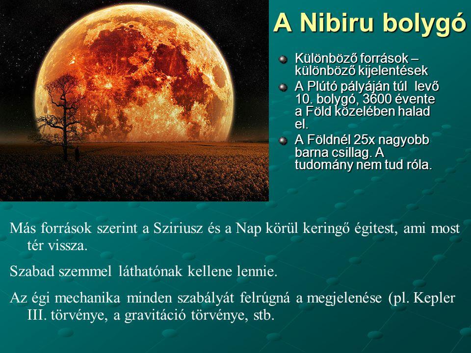 A Nibiru bolygó Különböző források – különböző kijelentések. A Plútó pályáján túl levő 10. bolygó, 3600 évente a Föld közelében halad el.