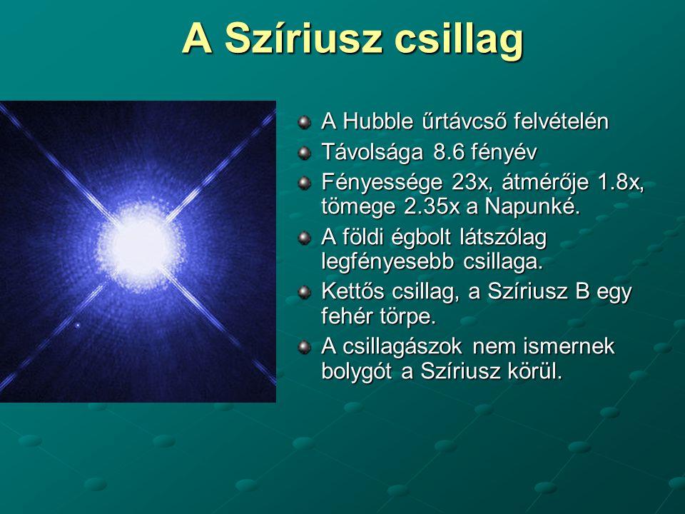 A Szíriusz csillag A Hubble űrtávcső felvételén Távolsága 8.6 fényév