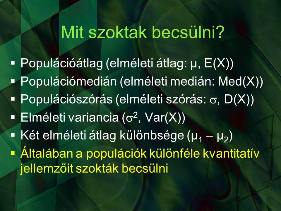 Mit szoktak becsülni Populációátlag (elméleti átlag: μ, E(X))