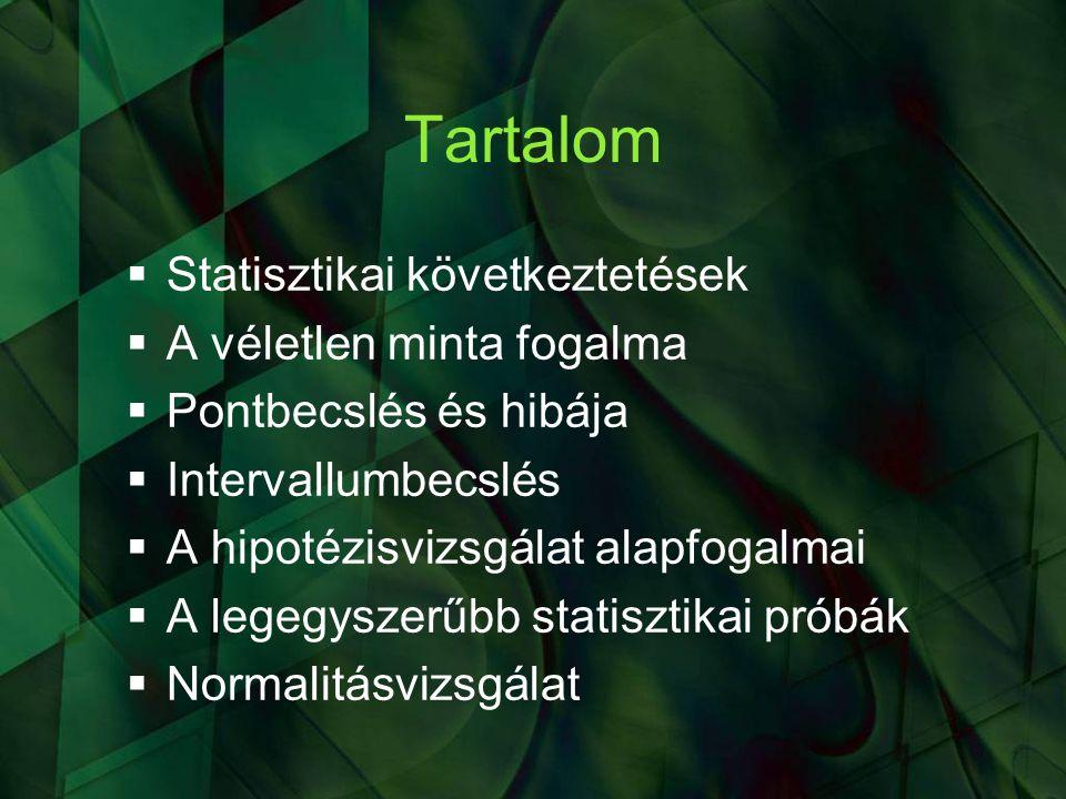 Tartalom Statisztikai következtetések A véletlen minta fogalma