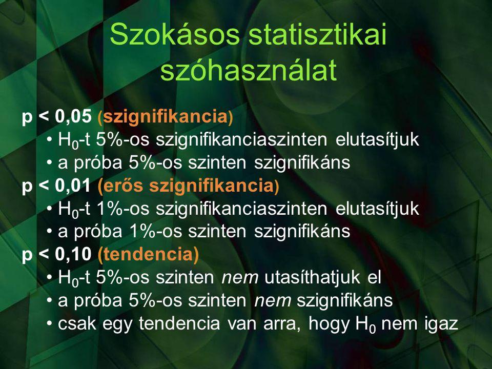 Szokásos statisztikai szóhasználat