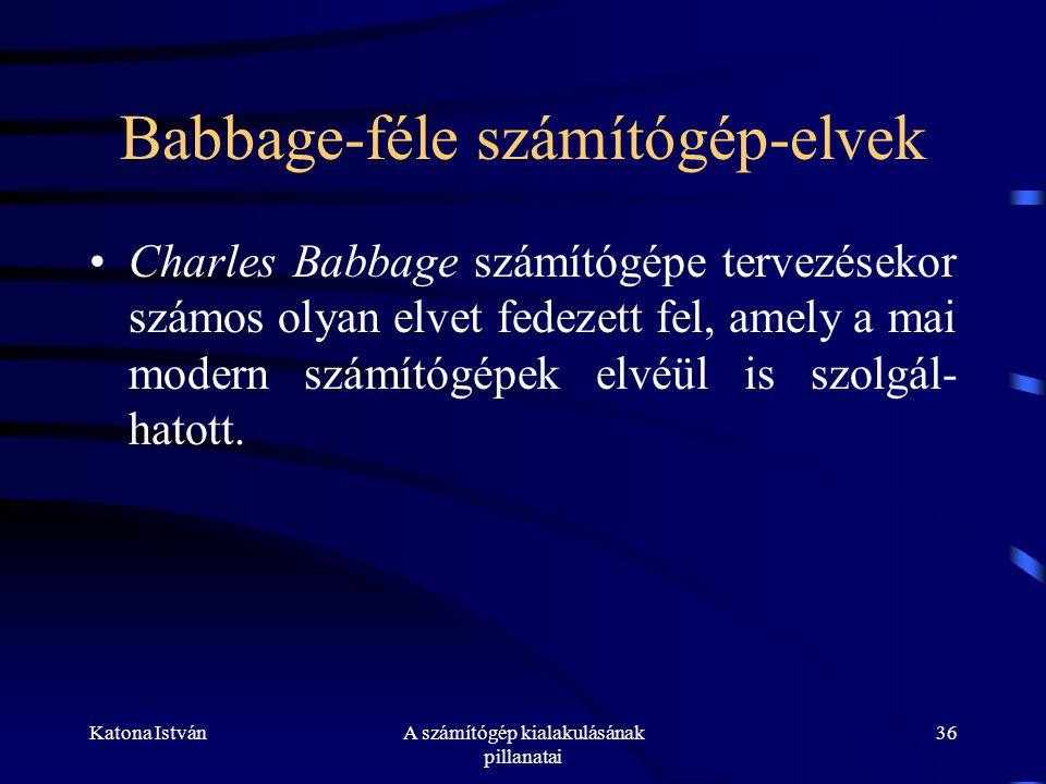 Babbage-féle számítógép-elvek
