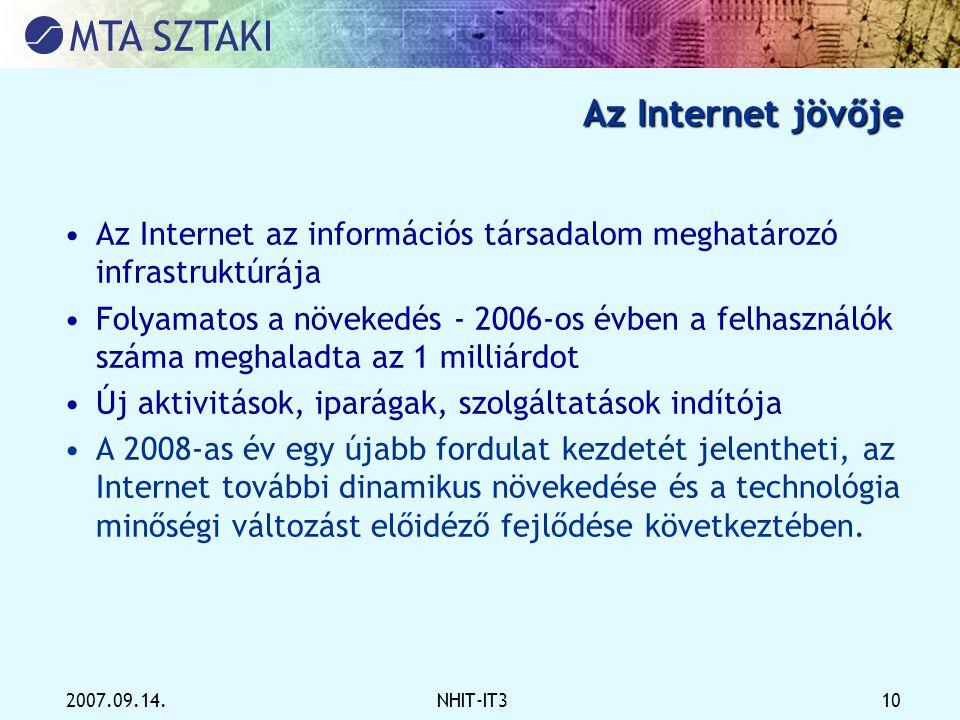 Az Internet jövője Az Internet az információs társadalom meghatározó infrastruktúrája.