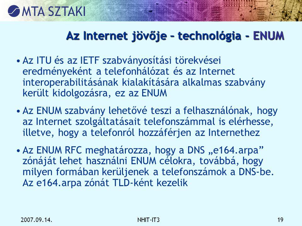 Az Internet jövője – technológia - ENUM