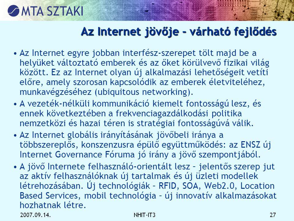 Az Internet jövője - várható fejlődés