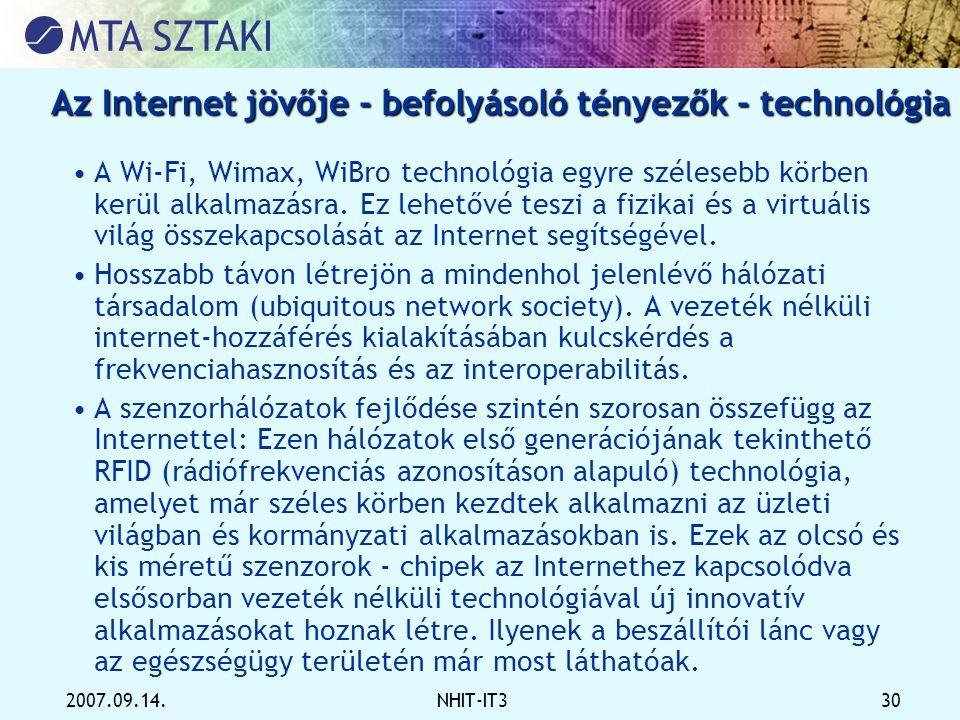 Az Internet jövője - befolyásoló tényezők - technológia