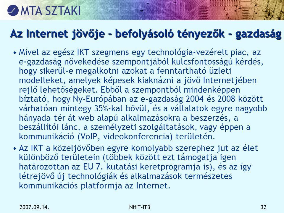 Az Internet jövője - befolyásoló tényezők - gazdaság