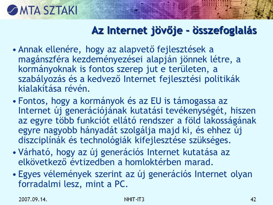 Az Internet jövője - összefoglalás