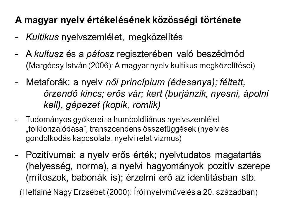 A magyar nyelv értékelésének közösségi története