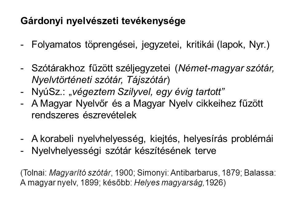 Gárdonyi nyelvészeti tevékenysége