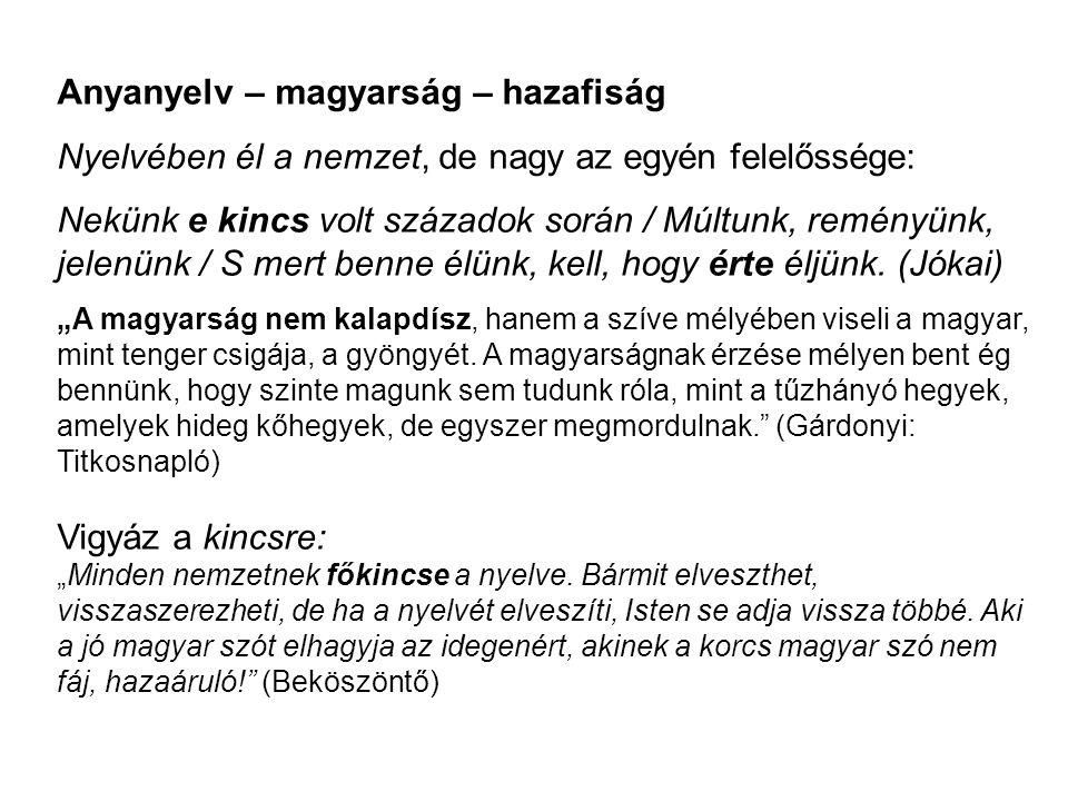 Anyanyelv – magyarság – hazafiság