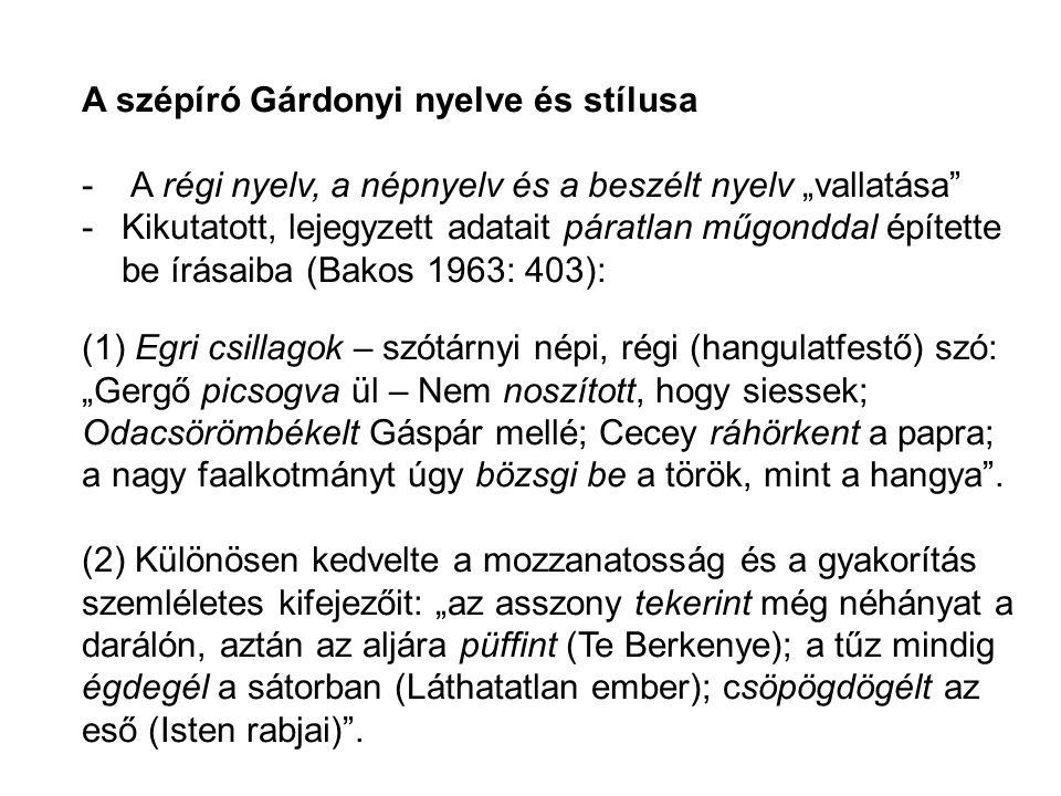 A szépíró Gárdonyi nyelve és stílusa