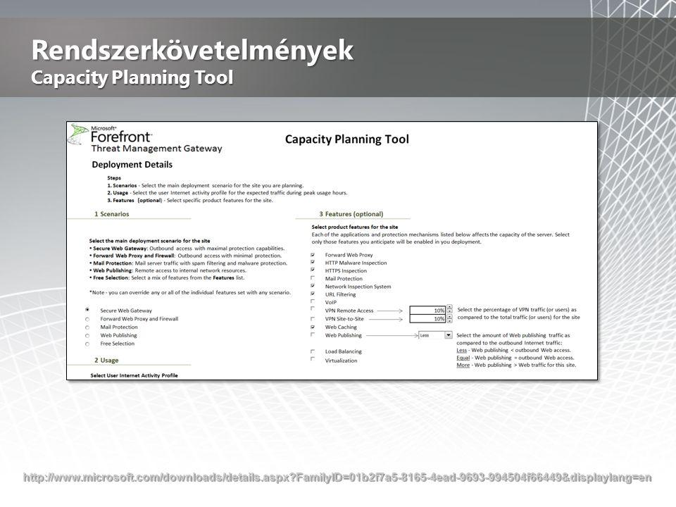 Rendszerkövetelmények Capacity Planning Tool