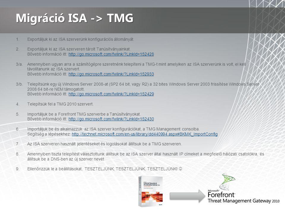 Migráció ISA -> TMG Exportáljuk ki az ISA szerverünk konfigurációs állományát. Exportáljuk ki az ISA szerveren tárolt Tanúsítványainkat.