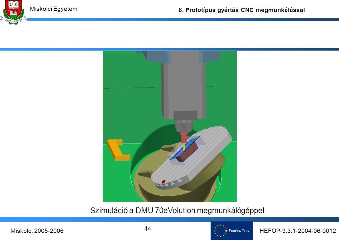 Szimuláció a DMU 70eVolution megmunkálógéppel