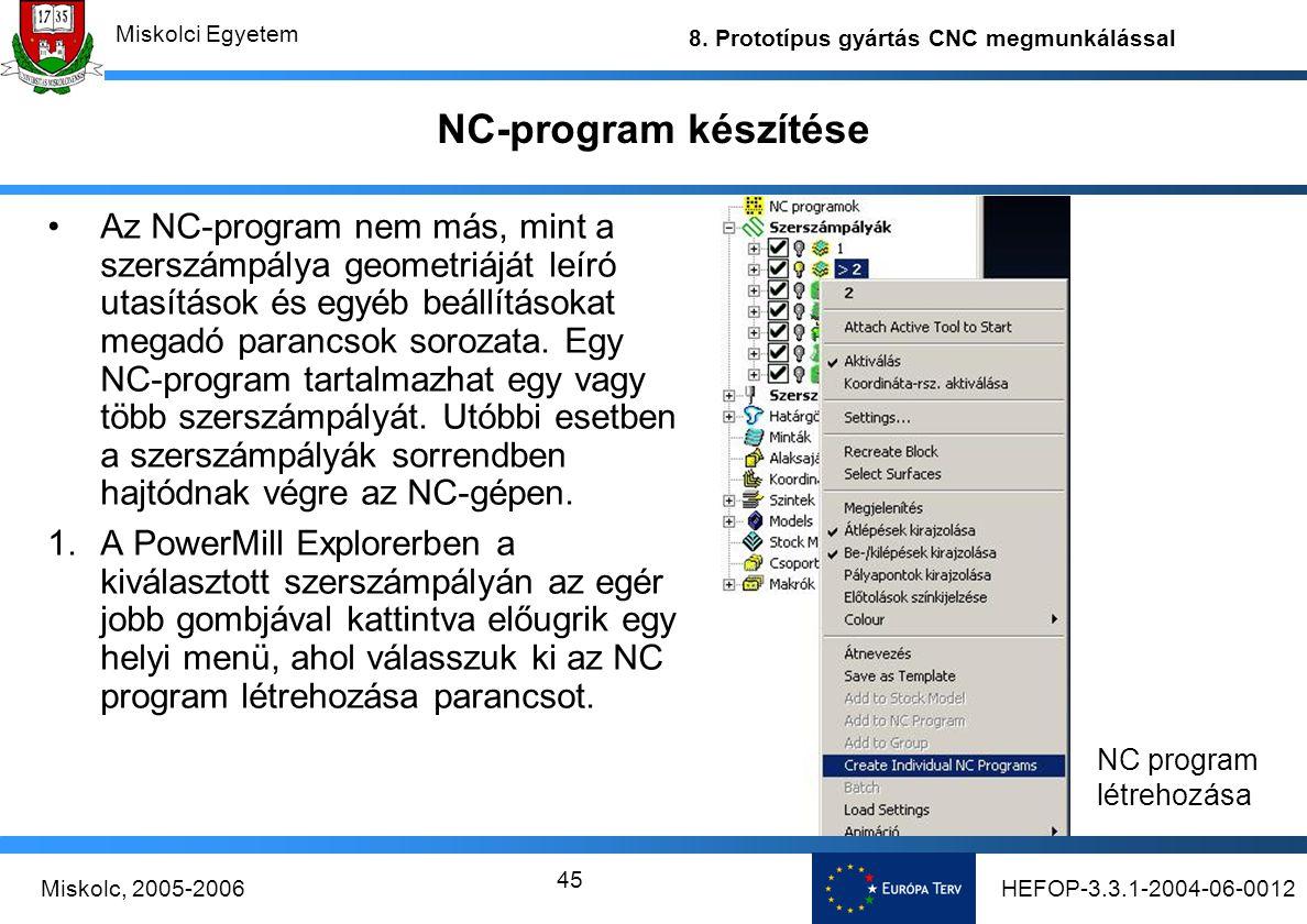 NC-program készítése