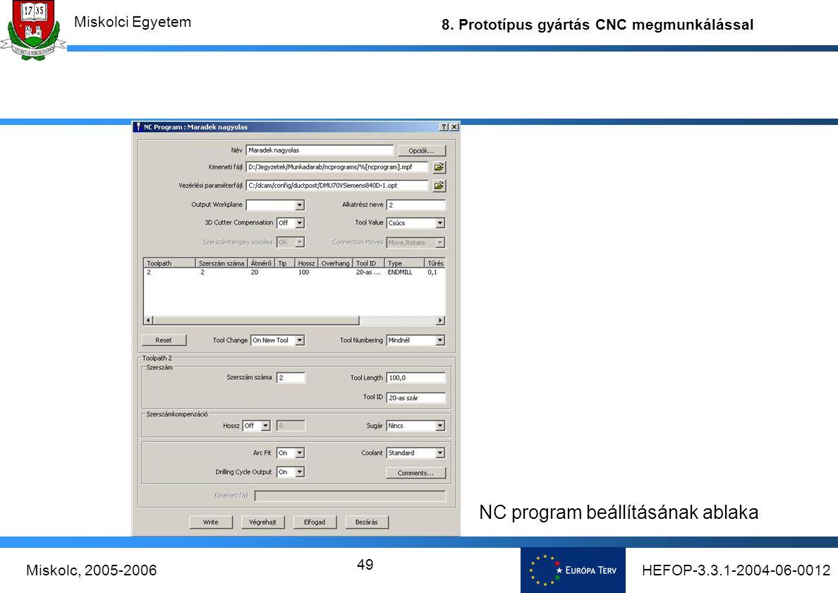 NC program beállításának ablaka