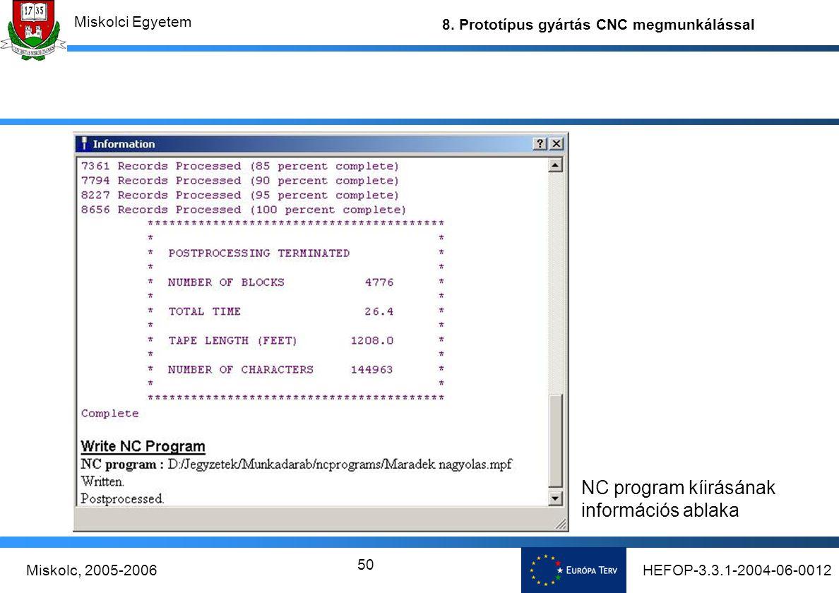 NC program kíirásának információs ablaka