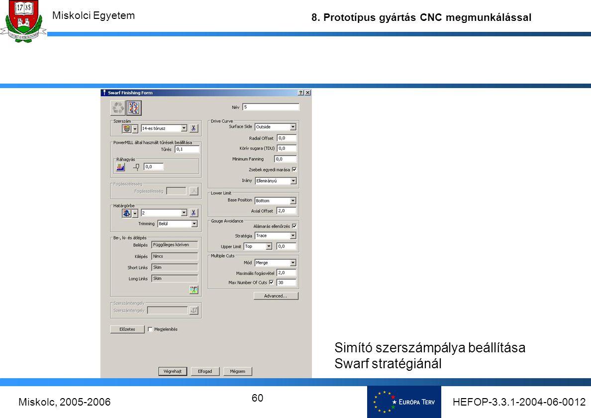 Simító szerszámpálya beállítása Swarf stratégiánál